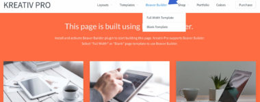 Kreativ Pro Theme has built-in Beaver Builder Templates